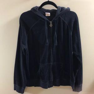 Old Navy Black Velour Long Sleeve Zip Up Hoodie XL